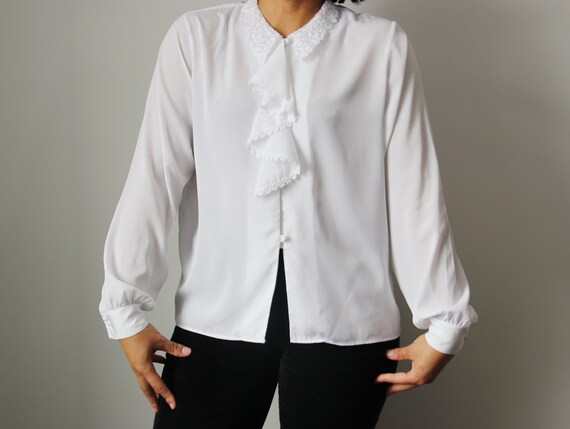 Victorian / Edwardian Inspired White Ruffle Blouse