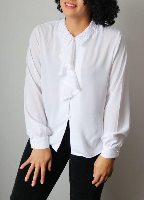 Victorian / Edwardian Inspired White Ruffle Blouse - image 8
