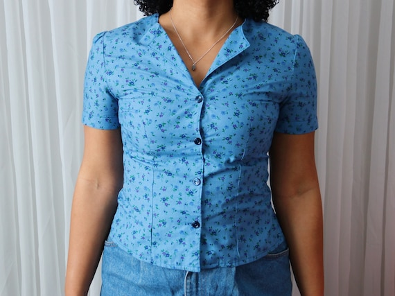 70's Blue Floral Button-Up Tee - image 5