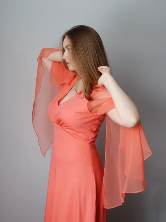 50's Coral Angel Sleeve Gown
