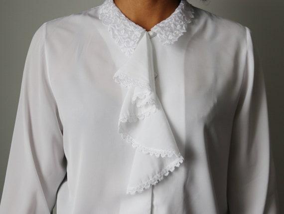 Victorian / Edwardian Inspired White Ruffle Blouse - image 10