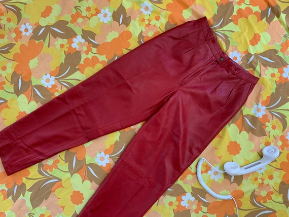 Vintage 80's Red Leather High Waisted Pants