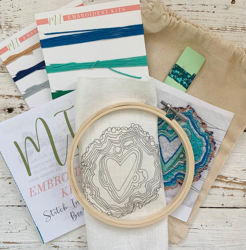 Emerald DIY Embroidery Kit Geode Sewing Kit Trendy Embroidery Kit Art Kit Geode Hand Embroidery Kit Embroidery Kit Embroidery design
