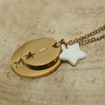 Custom necklace - Star Trio engraving Initiale - Gold - silver