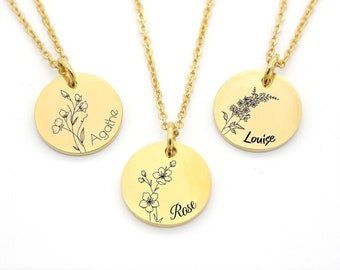 Personalized Flower Birth Necklace - Floral Necklace, Birth Jewelry, Woman Gift, Mom Necklace, Mom Gift, Mother's Day Gift