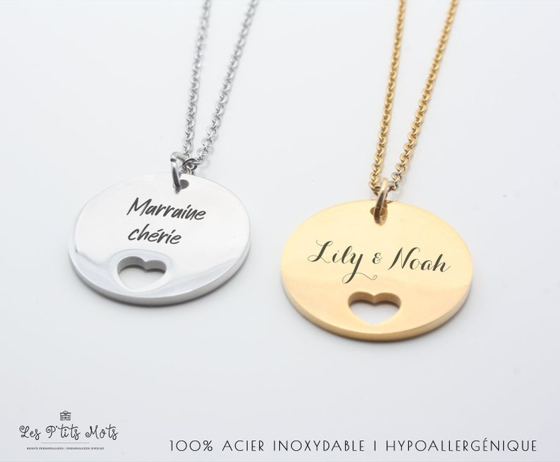 Personalized small heart necklace with engraving  Women's image 0