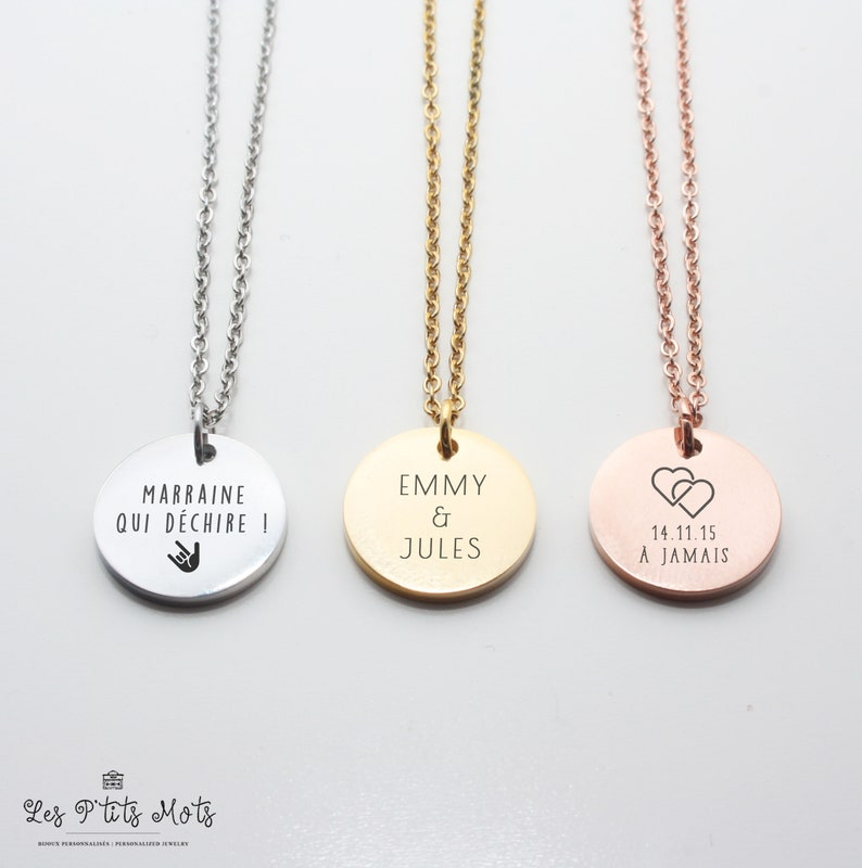 Personalised necklace Petit Mot  Godmother necklace wedding image 0