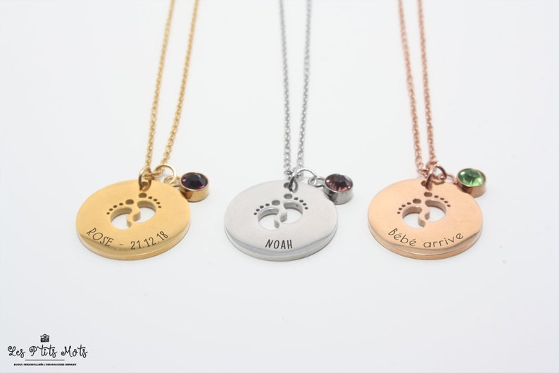 Personalised Little Feet Necklace with Engraving and image 0