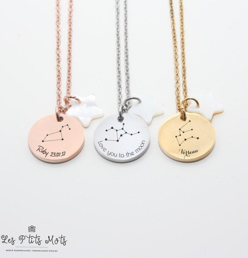 Zodiac Personalized Necklace  Constellation Jewel Jewel image 0