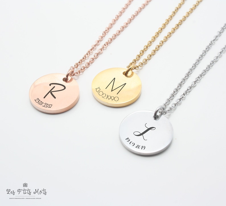 Custom Necklace Date Engraved Letter Necklace Initial image 0