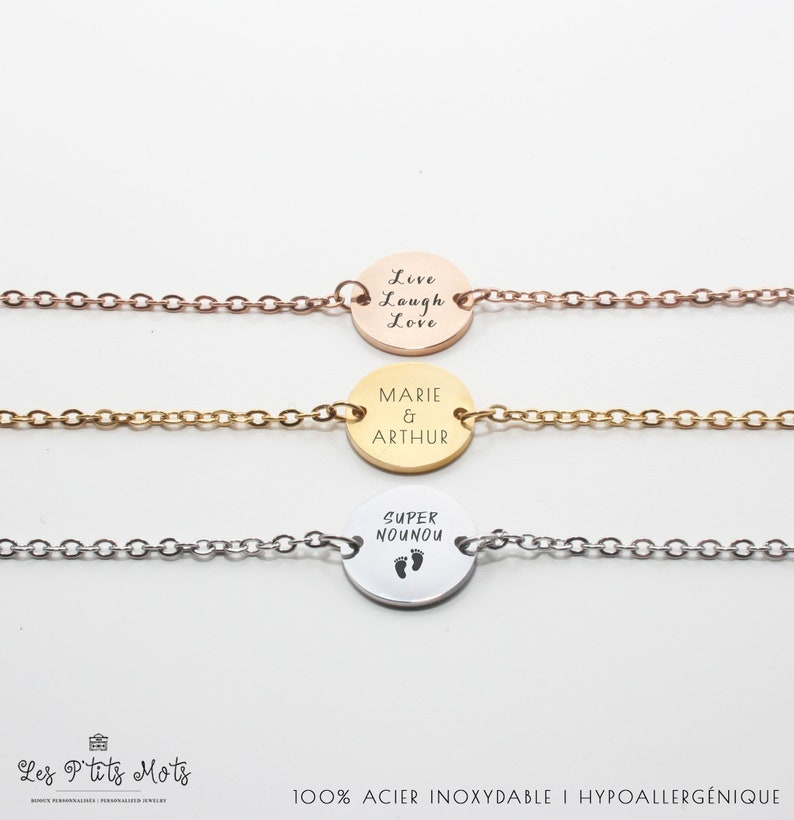 Personalized Bracelet Small Word  Friendship Gift Nanny image 0