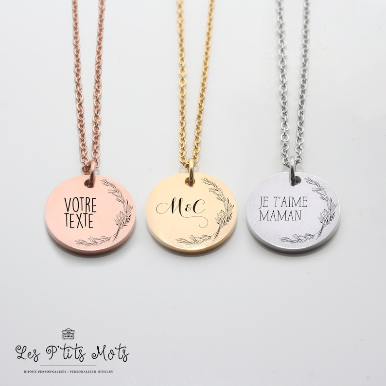 Floral Personalized Necklace Minimalist Flower Necklace Mom image 0