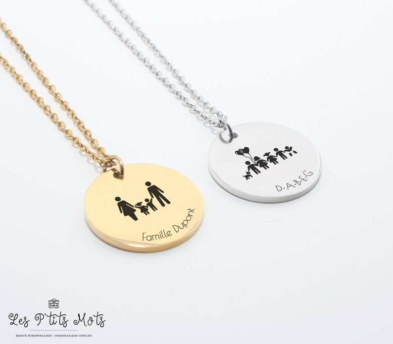 Personalised Family Necklace  Mom Gift Grandma Gift image 0