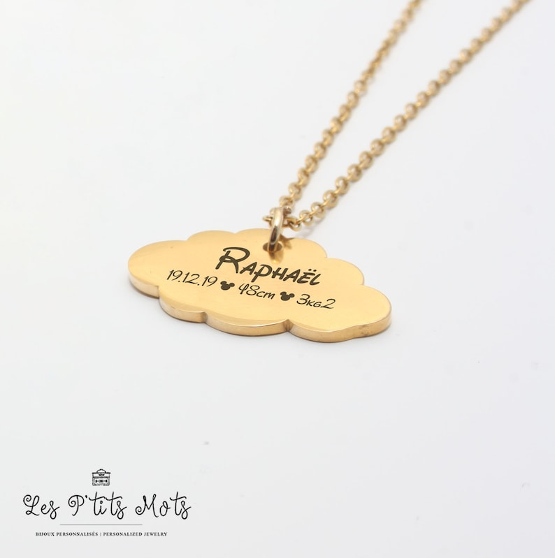 Personalized Birth Necklace Cloud with engraving  First name image 0