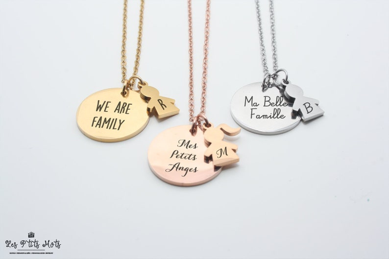 Personalized Family Necklace with Engraving  First Name image 0