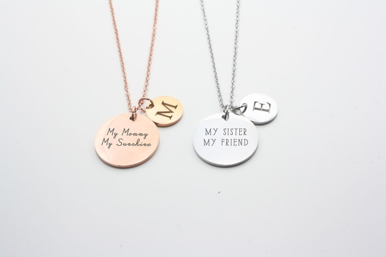 Personalized necklace Medal with Initial Sister Gift image 0