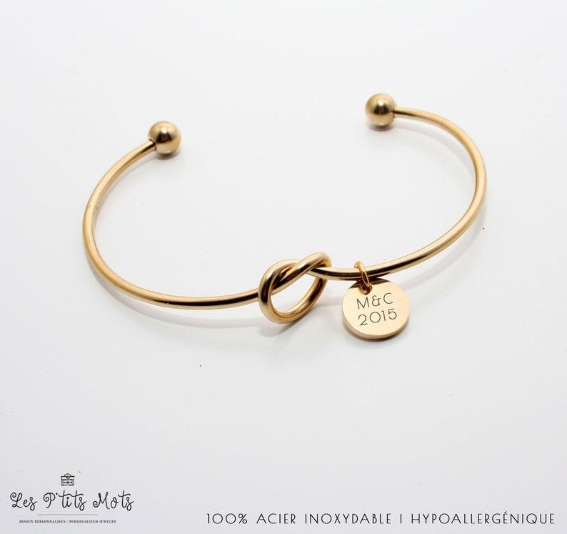 Jonc bracelet Personalized bracelet Knot Bracelet image 0
