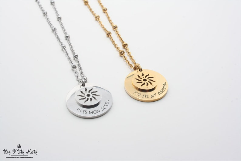 Personalised sun necklace with engraving Gold Silver  mom image 0