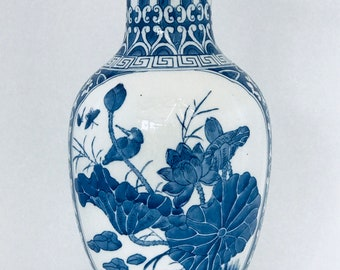 Chinese blue and white hand painted porcelain vase   1980s