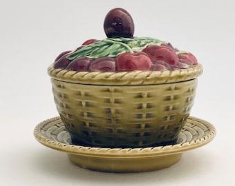 Sarreguemines   Antique French Majolica Cherry Compote Dish