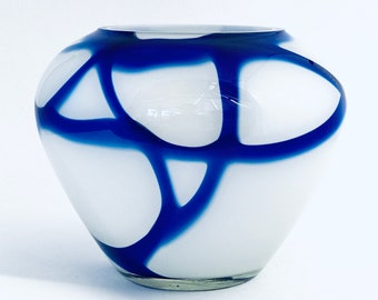 Carlo Moretti style   White and Cobalt Blue   Large Marbled Murano Glass Vase