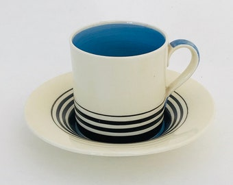 Susie Cooper Tango   Kestrel   Coffee Cup and Saucer   Blue and Black Graduated Bands
