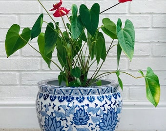 """Blue and White Lotus Flower 14"""" Chinese 'Fish Bowl' Porcelain Planter"""