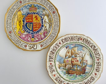 1937 Paragon Porcelain Handpainted Commemorative plates. George Vl Coronation and The Golden Hind