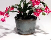 Handmade ceramic planter Cyan