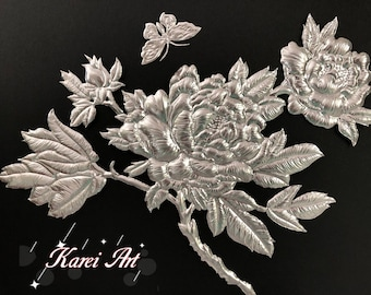 Handmade Peony Embossed Aluminum Artwork