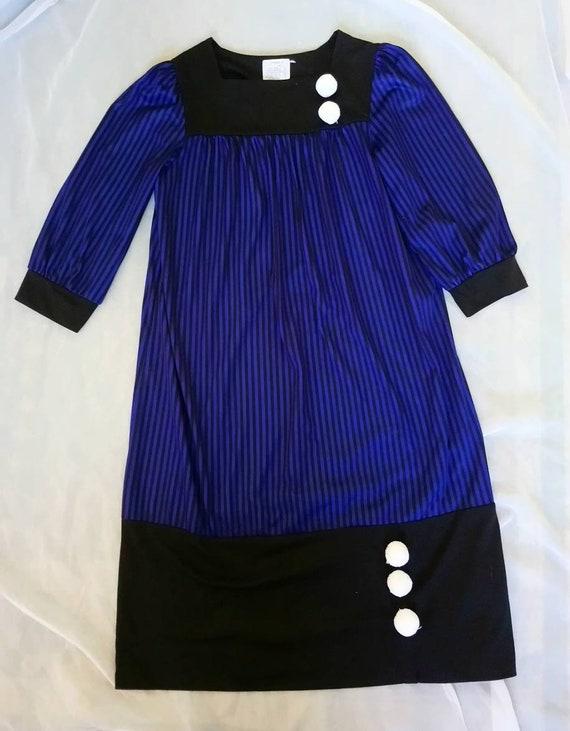 Vintage 1980's Striped Pierrot Dress size S