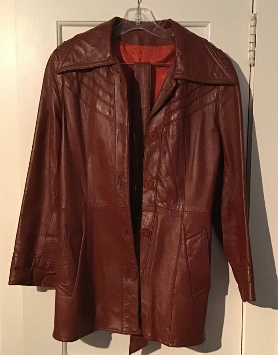 1970s maroon leather jacket
