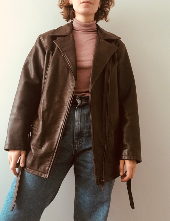 Oversized motorcycle brown leather jacket