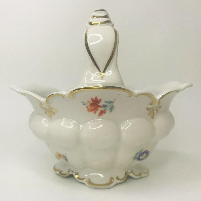Vintage Neutettau Germany US Zone Porcelain Basket Gold Trim Roses
