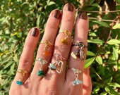 Crystal Fidget Ring Custom Charm Stim Jewelry Natural Gemstones Tarnish Resistant Handmade to Order Silver Plated Copper Wire