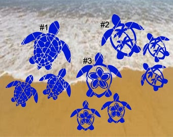 Sea Turtle Decal,Palm Tree OR Flower Turtle Family Decals, Cars,Laptops,Tumblers(#SS038)