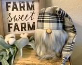Plaid farmhouse hat for Gnome farmhouse gnome hat farmhouse decor plaid gnome hat