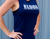 ELDOA USA Women Jersey Muscle Tank - Navy