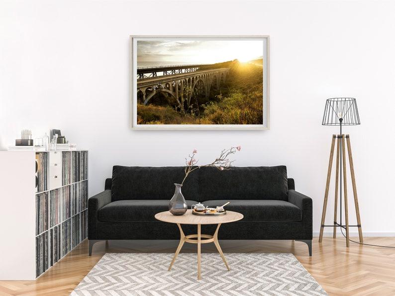 Coastal Photography Railroad Wall Art Santa Barbara Southern California Old Highway 101 Bridge Sunset Print Gaviota