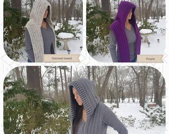 Crochet Hoody/scoodie/scood/hooded scarf ,pixie hood,woodland scarf  in Gray, oatmeal tweed,black and purple crochet hoodie  Adult/Teen size