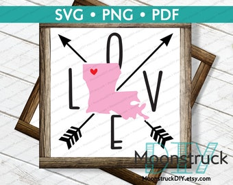 LOVE Louisiana State Silhouette with Arrows SVG & PNG
