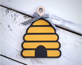 Wood Beehive Skeep Decorative Mini Cutting Board for Bee, Farmhouse, Rustic, Tiered Tray,  Country,  Shelf Decor
