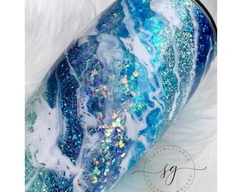 Ocean blue Milky Way, blue glitter tumbler, beach, waves, glitter tumbler, blue milkyway, blue glitter