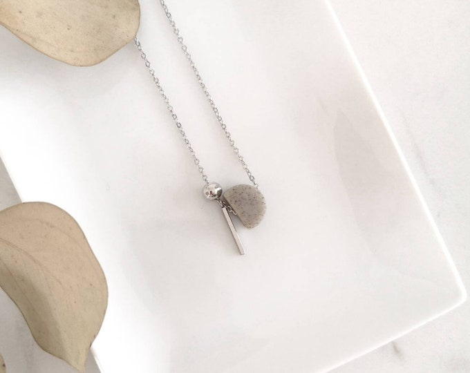 Featured listing image: Short stainless steel chain necklace, half-round grey granite polymer clay, ball and silver pendant. Modern jewel for women