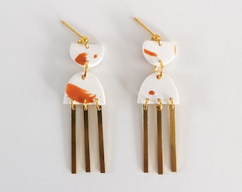 Minimalist earring, gold metal nail, white and orange polymer clay stain, rectangle brass pendant
