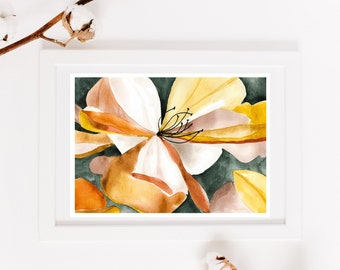 Colorful flower poster, reproduction original work, botanical illustration, print for interior decoration, watercolor