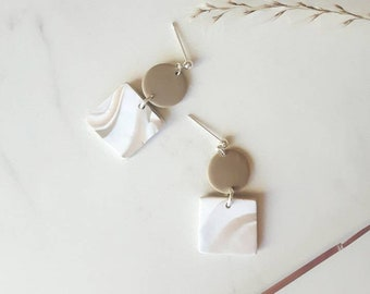 Minimalist earring, round sand color and white marbled square and polymer clay sand, silver-colored metal nail