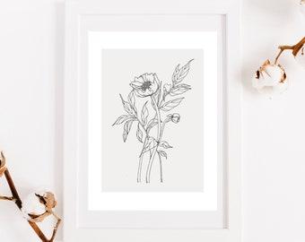 Peony poster on beige background, reproduction original work, botanical illustration, print for interior decoration, pencil, ink