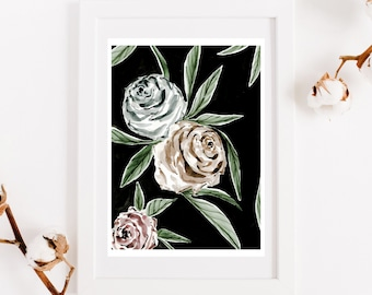 Poster three roses, reproduction original work, botanical illustration, print for interior decoration, watercolor