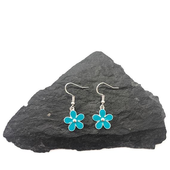blue 925 silver enamel handmade earrings